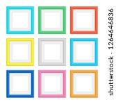 set of colorful wooden frames.... | Shutterstock .eps vector #1264646836