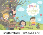 cute cartoon kids are gardening ... | Shutterstock .eps vector #1264661170