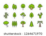 tree color line icons. plant... | Shutterstock .eps vector #1264671970