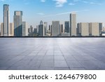 empty square with city skyline... | Shutterstock . vector #1264679800