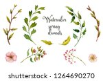 watercolor spring elements with ... | Shutterstock . vector #1264690270
