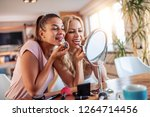 make up  friendship and fun... | Shutterstock . vector #1264714456