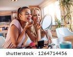 make up  friendship and fun... | Shutterstock . vector #1264714456