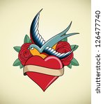 tattoo illustration with heart  ... | Shutterstock .eps vector #126477740