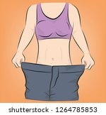 the girl shows that her pants... | Shutterstock .eps vector #1264785853