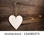 Love Heart Hanging On Wooden...