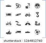 transport icon set and tractor...