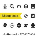 service icons set with hotline  ...
