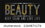 slogan with rhinestones and... | Shutterstock .eps vector #1264871176