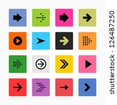 arrow icon set web sign. black... | Shutterstock .eps vector #126487250