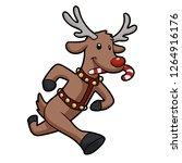 reindeer  running with candy in ...   Shutterstock .eps vector #1264916176