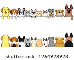 dogs and cats border set  front ... | Shutterstock .eps vector #1264928923