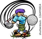 golfer cartoon swinging golf... | Shutterstock .eps vector #126493814