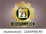 golden emblem with calendar...   Shutterstock .eps vector #1264998190