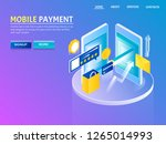 mobile phone payment  e... | Shutterstock .eps vector #1265014993