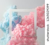 Small photo of Abstract pastel pink and blue color paint with pastel gray background. Fluid composition with copy space. Minimal natural luxury.