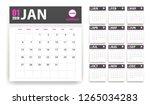 2019 calendar in paper stickers ... | Shutterstock . vector #1265034283