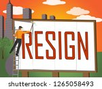 resign billboard means quit or... | Shutterstock . vector #1265058493