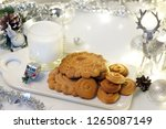 gingerbread cookie and milk for ...   Shutterstock . vector #1265087149