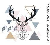 geometric muzzle deer....   Shutterstock .eps vector #1265090779