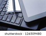 tablet computer and laptop  pen ... | Shutterstock . vector #126509480