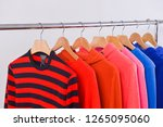 fashionable clothing on hangers ...   Shutterstock . vector #1265095060