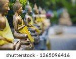 Buddha Statues in Seema Malaka Temple, Colombo, Sri Lanka. Selective Focus.