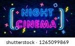 cinema night set neon sing ... | Shutterstock .eps vector #1265099869