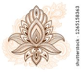 mehndi lotus flower pattern for ... | Shutterstock .eps vector #1265158363