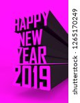 happy new year 2019 3d poster... | Shutterstock . vector #1265170249