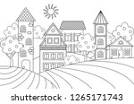 vector landscape with houses... | Shutterstock .eps vector #1265171743