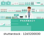 pharmacy with doctor in counter.... | Shutterstock .eps vector #1265200030