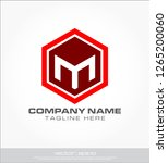 m logo hexagon template | Shutterstock .eps vector #1265200060