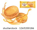 sandwich cookies cream with... | Shutterstock .eps vector #1265200186