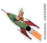 girl on the space rocket. retro ... | Shutterstock .eps vector #1265233009
