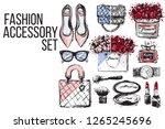fashion accessories vector set  ... | Shutterstock .eps vector #1265245696