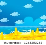 cartoon scene with beach by the ... | Shutterstock . vector #1265253253
