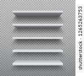 realistic bookshelf. white... | Shutterstock .eps vector #1265263753