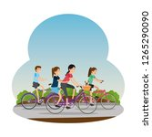 people in bicycle traveling on...   Shutterstock .eps vector #1265290090