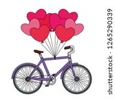 bicycle vehicle and balloons... | Shutterstock .eps vector #1265290339