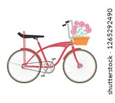 retro bicycle with basket and... | Shutterstock .eps vector #1265292490