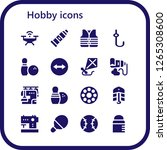 hobby icon set. 16 filled... | Shutterstock .eps vector #1265308600
