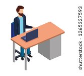 young man in the desk and laptop | Shutterstock .eps vector #1265327593