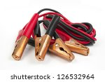 Small photo of jump lead battery on white background