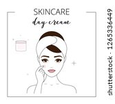 woman using day cream  taking... | Shutterstock .eps vector #1265336449