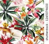 seamless floral pattern with... | Shutterstock . vector #1265374633