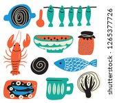 scandinavian food concept. hand ...   Shutterstock .eps vector #1265377726