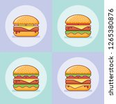 set of burgers flat line icons. ... | Shutterstock .eps vector #1265380876