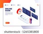 online exam isometric concept.... | Shutterstock .eps vector #1265381800