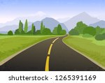 road trip flat hand drawn... | Shutterstock .eps vector #1265391169